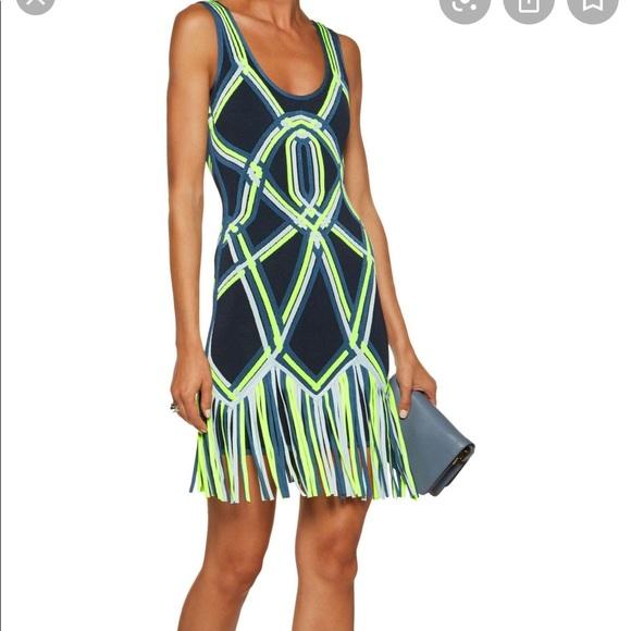 NWOT Herve Leger Neon Charoletta Fringe Trim Dress